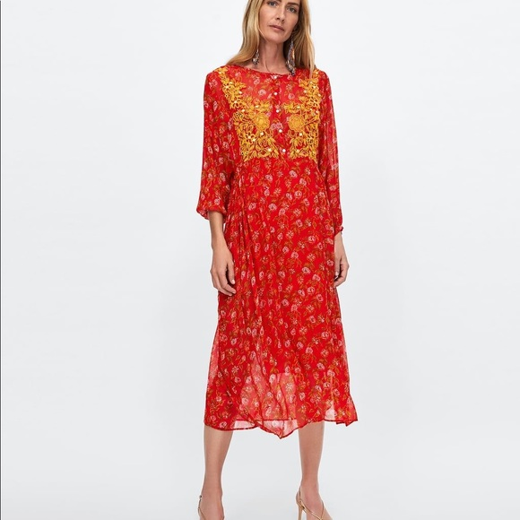 Zara Dresses & Skirts - NWT Zara Dress with Embroidered Front